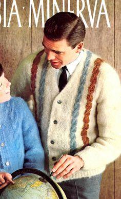 Men s Retro 60s V Neck Cardigan Knitting Pattern by YarnSkippy V Neck  Cardigan 0f9d1d754
