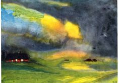 Emil Nolde: Colored Sky Above Marais (1940) watercolor