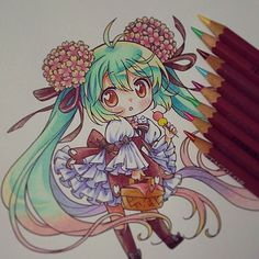 "Por fin la termine ^0^)/ ""PAINTED WITH PENCIL CRETACOLOR"" #hatsunemiku #chokumiku #chibi #kawaii #sakura #flowers #bento #dango #traditional #instaanime #instadraw"