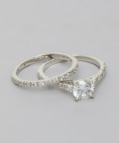 White Gold Pavé Solitaire Ring