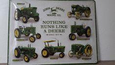 De ontwikkeling van de John Deere tractor afgebeeld op een metalen bord. Dit hoort thuis in de verzameling van iedere John Deere liefhebber.