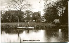 postcard of Fakenham looking across the river towards the church - when I was a child in about 1934 to 1937 I lived in Swann Street and the prominent house shown on the card was occupied by a doctor (Dr. Warner I think) the post mark is 29 Sep. but the year is not clear.