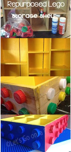 DIY old shelf & plastic lids into repurposed Lego shelf Lego Bedroom, Kids Bedroom, Minecraft Bedroom, Bedroom Ideas, Lego Storage, Storage Shelves, Lego Shelves, Legos, Deco Lego