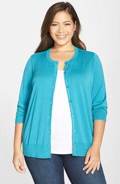 Halogen® Three Quarter Sleeve Cardigan (Plus Size)