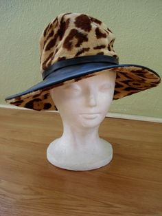Vintage 1960s Floppy Brim Hat Leopard Print 2013695 by bycinbyhand, $85.00 #leopardprint #fauxfur #vegan #floppyhat #floppybrim #vintagestyle #hats #winterhat #bycinbyhand #cinsfreshpicked