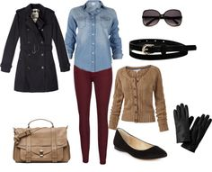 """""""Winter Fashion 2013"""" by kdir on Polyvore Great! I have these maroon pants! & a blue shirt too!"""