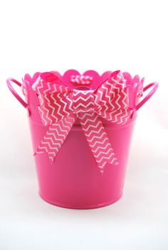 "Gamma Phi Beta Bucket - 6"" x 6"" bucket with a bow and coordinating ribbon to match your sorority colors"