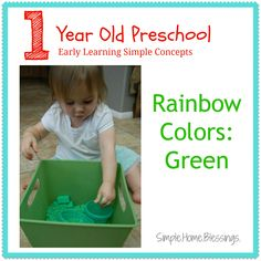 Rainbow Colors: Green.  Ideas and activities to teach color recognition for toddlers.
