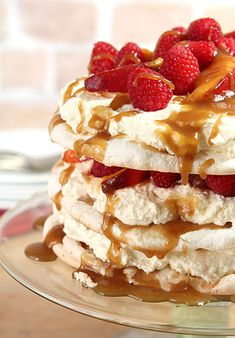 Peach Melba Pavlova with Bourbon Caramel Sauce