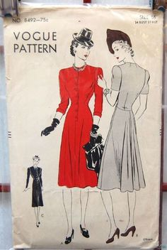 Vogue 8492 - such classic - and classy - 1940s daywear dresses (love the hats, too!). #vintage #sewing_patterns #1940s #fashion
