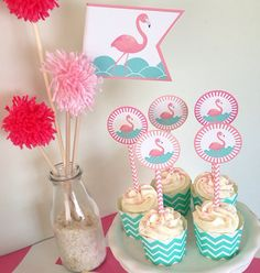 Printable DIY Cupcake toppers for Flamingo Party