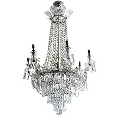 19th Century English Cut Glass Tent And Waterfall Chandelier