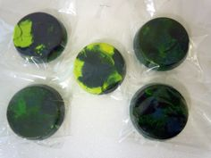 Set of 5 -- Earth, Blue and Green Crayons, Recycled, Upcycled. $7.50, via Etsy.