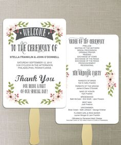Instant Download  DIY Printable Wedding Fan by CreativeUnionDesign