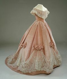 Ball Dress of Wilhelmina von Hallwyl, W.W. Ullberg & Comp.: 1865, moiré, lace, gauze, cotton.