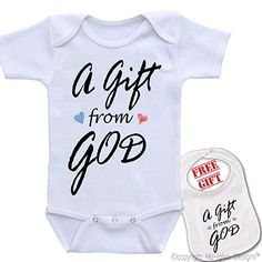 Baby onesie.  Gift from God.  Christian baby clothes.  Christian baby shower gift.
