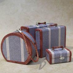 112 Scale Miniature Luggage / Retro Stripe 4Piece by FranMadeMinis, $120.00