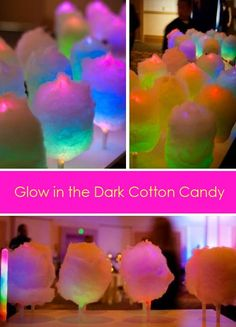 Glow in the Dark Cotton Candy - What a cool idea! Would make for a fun photo session. Link to the glow in the dark cotton candy sticks. Party Fiesta, Neon Party, Festa Party, Party Fun, Movie Party, Bbq Party, Cotton Candy Sticks, Cotton Candy Cone, Cotton Candy Party