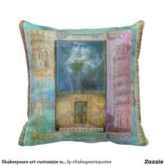 Shakespeare art customize with  favorite quotation throw pillow
