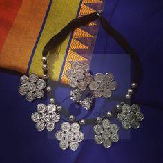 #handmade #craft  #handcraft  #germansilver  #choker #chokernecklace #Earring # Crochet Necklace, Chokers, Earrings, Handmade, Crafts, Jewelry, Fashion, Crochet Collar, Jewellery Making