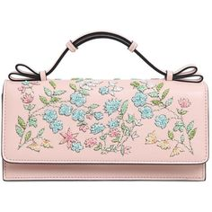 RED VALENTINO Floral Embellished Leather Clutch (50.835 RUB) ❤ liked on Polyvore featuring bags, handbags, clutches, light pink, floral clutches, beaded clutches, light pink purse, light pink handbag and floral purse