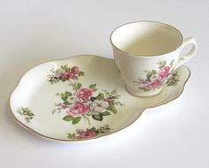 Vintage Old Foley Teacup and Snack Plate/Tennis by TheWhistlingMan, £10.00