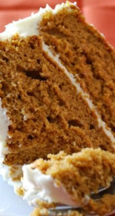 Pumpkin Spice Cake with Cream Cheese Frosting Recipe ~ Moist, tender and has great flavor.