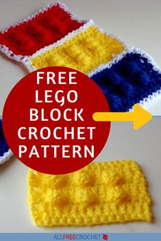 Lego Block Crochet Pattern | Who doesn't love LEGO blocks? We sure do! Crochet your own block and put them together to make a fun LEGO-inspired blanket! #crochetlegoblock Crochet Lego, All Free Crochet, Crochet Hats, Cool Crochet Blanket, Yarn Crafts For Kids, Free Lego, Lego Blocks, Afghan Crochet Patterns, Cool Lego