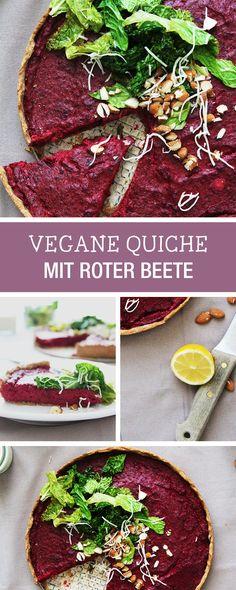 Gesunde Rezeptidee für eine vegane Quiche mit Roter Beete / vegan beetroot quiche, clean eating via DaWanda.com