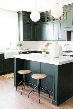 Dark Green Kitchen Cabinets - Dark Green Kitchen Cabinets, 31 Green Kitchen Design Ideas Paint Colors for Green Kitchens Dark Green Kitchen, Green Kitchen Cabinets, Kitchen Cabinet Design, Kitchen Paint, Home Decor Kitchen, Kitchen Living, New Kitchen, Dark Cabinets, Upper Cabinets