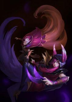Xayah & Rakan by 若此情赋予东流兮 HD Wallpaper Background Fan Art Artwork League of Legends lol