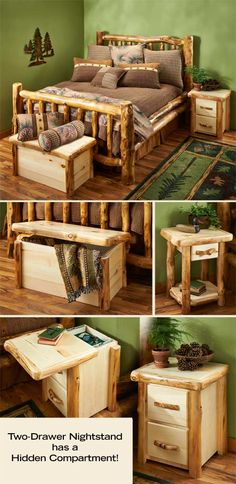 Natural Log Corral Bedroom Furniture : Wild Wings by lori. Rustic Log Furniture, Driftwood Furniture, Home Furniture, Furniture Outlet, Log Bedroom Furniture, Wood Bedroom, Furniture Sets, Rustic Wood, Rustic Decor
