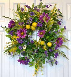 Purple Fantasy Sunflower, Summer Wreath, Home Living, Home Decor, Front Door Wreath, Fruit Wreath, Wall Decor, Door Hanger, Garden Outdoors