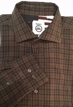 HICKEY Brown Gray Plaid Button-up Shirt Men's Size L #HICKEY #ButtonFront