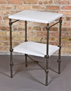 "Urban Remains Chicago :: very unusual early 20th century vintage medical heavily reinforced tubular steel ""art bed"" two tier side table"