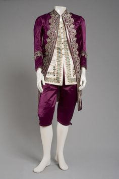 Late 19th Century Man's Fancy Dress Costume Culture: American Medium: silk satin, cotton, sequins, glass At fancy dress balls in the late nineteenth and early twentieth centuries, well-to-do men and women donned costumes that were exotic, inventive, or historical. Eighteenth-century fashions were especially popular since they flattered women and let men revive their abandoned sumptuousness.  Source: http://www.philamuseum.org/collections/permanent/90340.html?mulR=29980|122