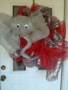 Alabama wreath by Denise Milo of D loops wreaths.Roll tide elephant wreath deco mesh Like her FB page! www.facebook.com/dloopswreaths