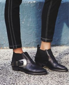 Free-People-Maverick-Chelsea-Buckle-Black-Leather-Ankle-Boots-Size-6-36