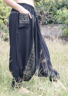 Afghan Harem Trousers Yoga Boho Baggy Gypsy Hippie Genie Aladdin Pants Black #women's fashion