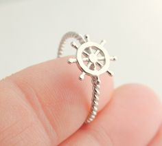 Nautical Sterling Silver Jewelry Ring, Helm, Pirate, Ship, Coin, Rope, Charm, Jewelry, Rings, Silver Jewelry, Silver Ring.. $22.00, via Etsy.
