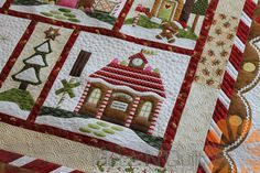 Piece N Quilt: Gingerbread Village Quilt - Custom Machine Quilting by Natalia Bonner