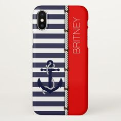 Custom Retro Boat Anchor Stripes Pattern On Red iPhone X Case - cool gift idea unique present special diy