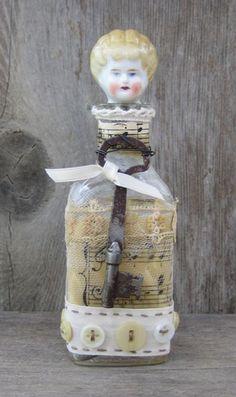 Altered Art Bottle - Blonde Haired Girl