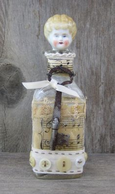 Altered Art Bottle - Blonde Haired Girl