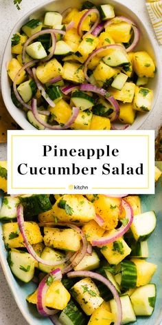 Recipe: Pineapple-Cucumber Salad — Recipes from The Kitchn Recept: Ananas-gurksallad – recept från The Kitchn Cucumber Recipes, Healthy Salad Recipes, Raw Food Recipes, Vegetarian Recipes, Dinner Recipes, Cooking Recipes, Recipes For Salads, Recipes For Cucumbers, Vegetarian Food