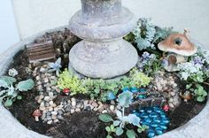 Place the plants and village pieces in the basin.