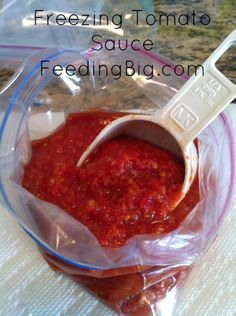 Freezing Tomato Sauce - The easy way.  I share an easy way to make and freeze small batches of tomato sauce!  Video included!