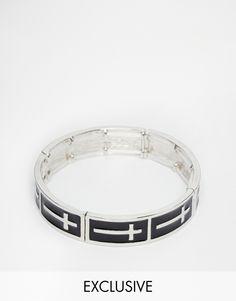 Armband von Designsix silberfarbene Optik glatter Ring Kreuz-Design 80% unedles Metall, 20% andere Materialien exklusiv bei ASOS