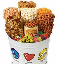 Peace Love & Popcorn 3-Way Popcorn & Snack Assortment Tins - Divine Gifts & Candy