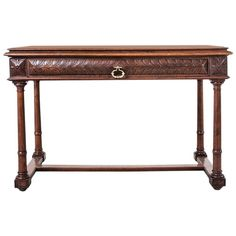 19th Century French Hand-Carved Walnut Henri II Desk, Sofa Table, or Console | From a unique collection of antique and modern desks and writing tables at https://www.1stdibs.com/furniture/tables/desks-writing-tables/